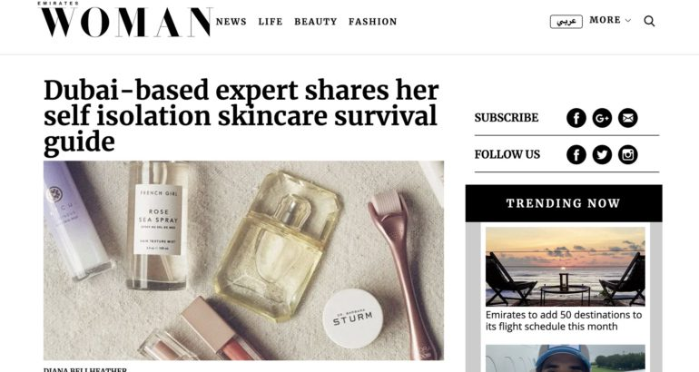 Dubai-based expert shares her self isolation skincare survival guide